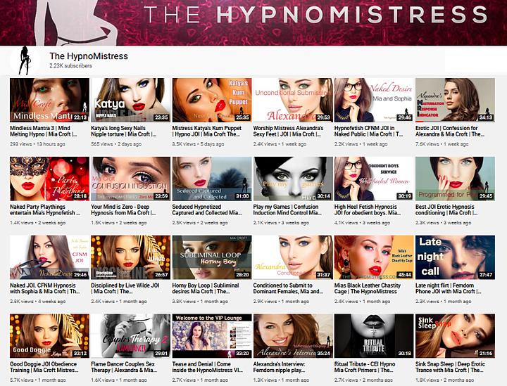 Overzicht van audio op YouTube van hypnoseMeesteres Mia Croft en Vriendinnen