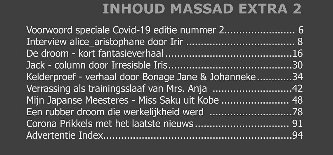 De inhoudsopgave MassaD tweede extra editie