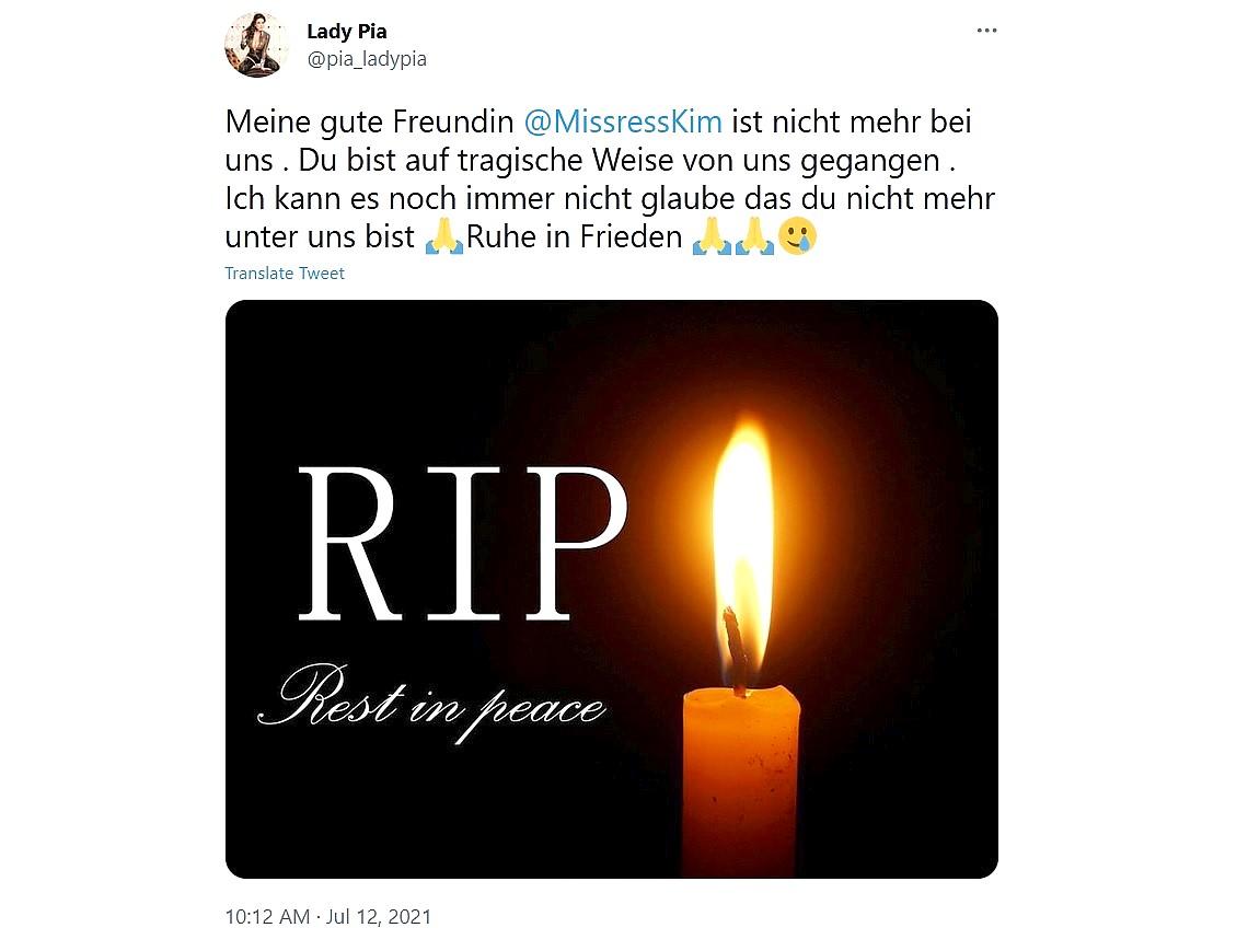 Meesteres Kim overleden